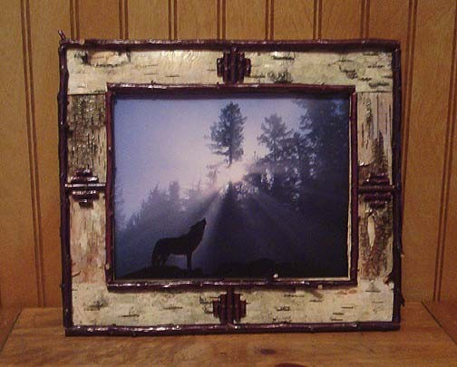 Handmade white birch and twig picture frames